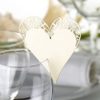 Ivory Heart Place Cards